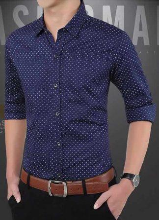 Capa Camisa Slim Fit Ocasional Moderna Azul 003