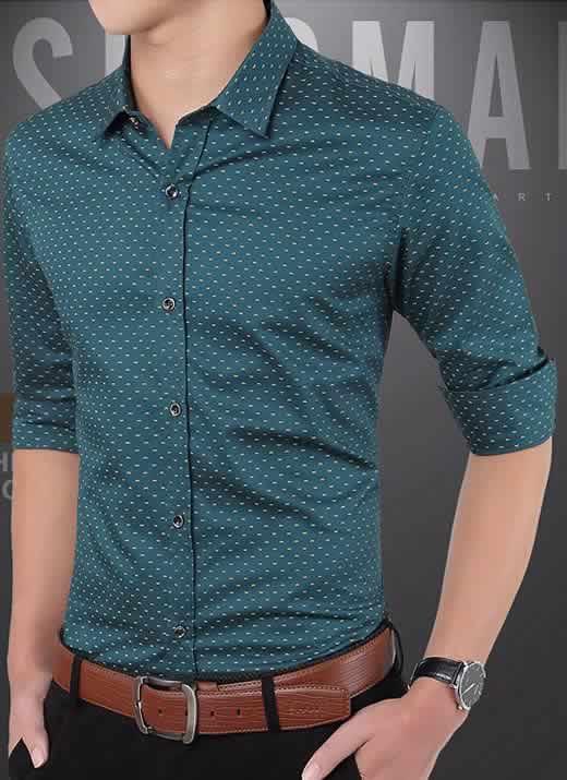 Capa Camisa Slim Fit Ocasional Moderna Verde 003