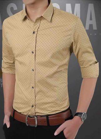 Capa Camisa Slim Fit Ocasional Moderna Caqui 003
