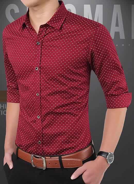 Capa Camisa Slim Fit Ocasional Moderna Vinho 003