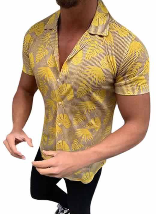 Capa Camisa Casual Slim Fit Estilo Europeu Moda Verão Dourada C011