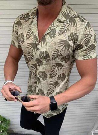 Capa Camisa Casual Slim Fit Estilo Europeu Moda Verão Verde C011
