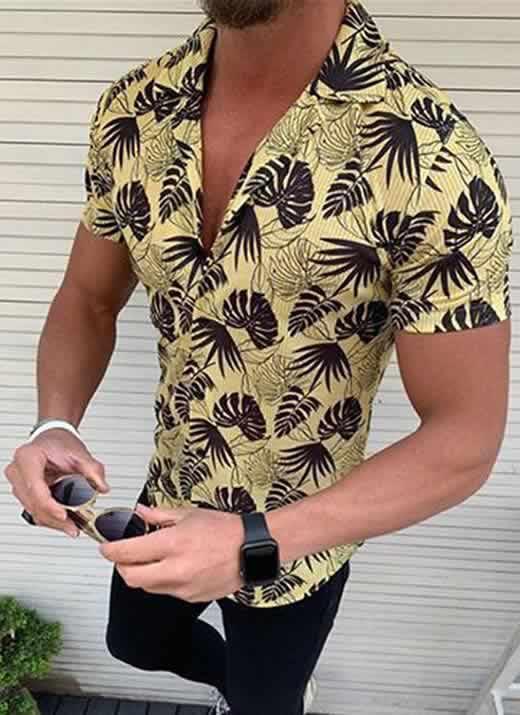 Capa Camisa Casual Slim Fit Estilo Europeu Moda Verão Amarela C011