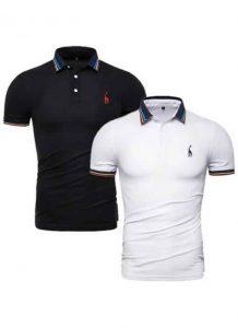 Kit 2 Camisas Polo GRF Premium Preta e Branca
