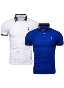 Kit 2 Camisas Polo GRF Premium Branco e Azul
