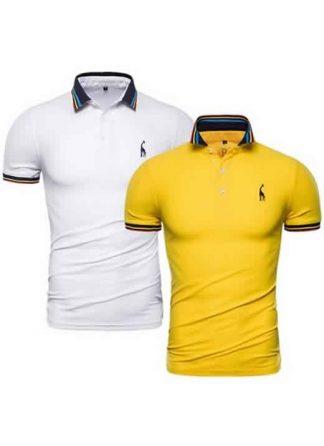 Kit 2 Camisas Polo GRF Premium Branco e Amarelo