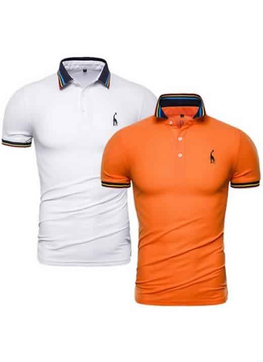 Kit 2 Camisas Polo GRF Premium Branco e Laranja