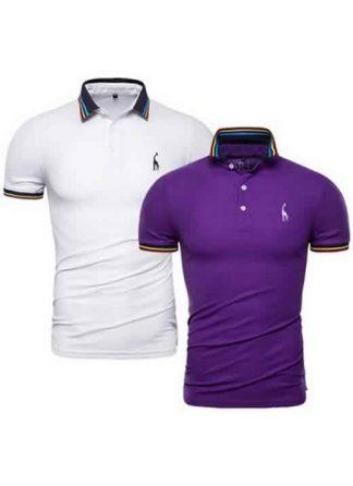 Kit 2 Camisas Polo GRF Premium Branco e Roxo