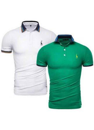 Kit 2 Camisas Polo GRF Premium Branco e Verde