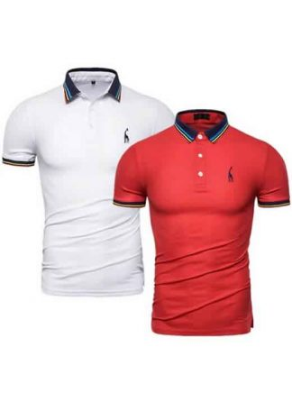 Kit 2 Camisas Polo GRF Premium Branco e Vermelho