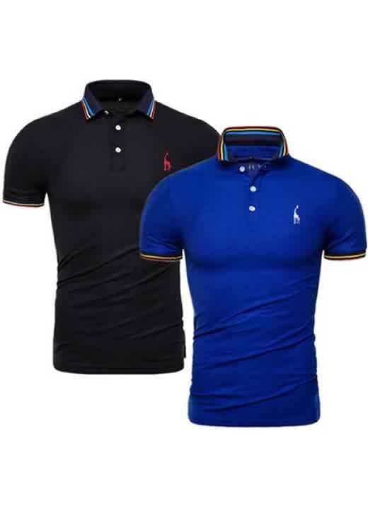 Kit 2 Camisas Polo GRF Premium Preto e Azul