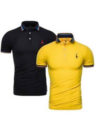 Kit 2 Camisas Polo GRF Premium Preto e Amarelo