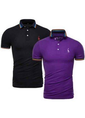 Kit 2 Camisas Polo GRF Premium Preto e Roxo