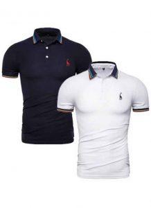 Kit 2 Camisas Polo GRF Premium Azul Marinho e Branco