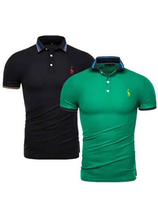 Kit 2 Camisas Polo GRF Premium Preto e Verde