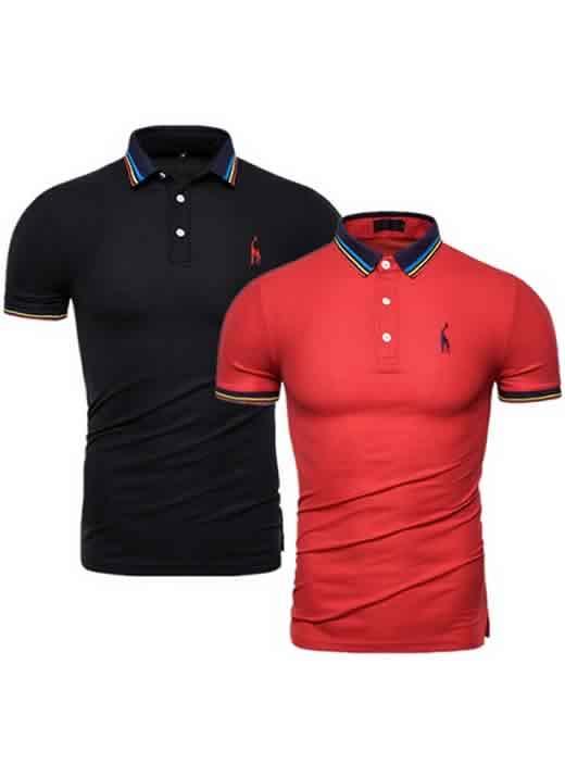 Kit 2 Camisas Polo GRF Premium Preto e Vermelho