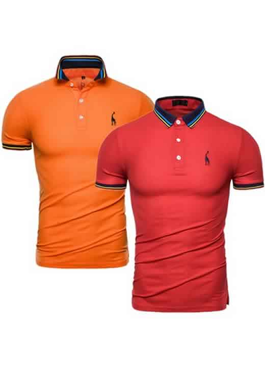 Kit 2 Camisas Polo GRF Premium Laranja e Vermelho