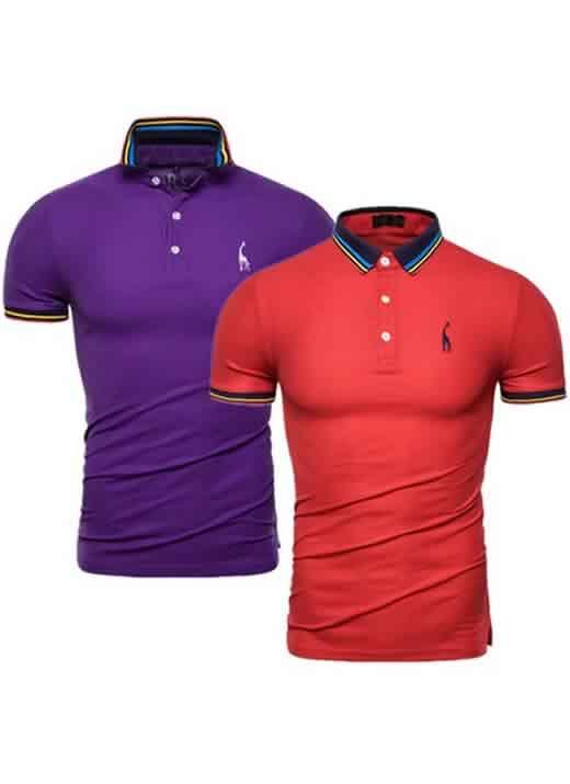 Kit 2 Camisas Polo GRF Premium Roxo e Vermelho