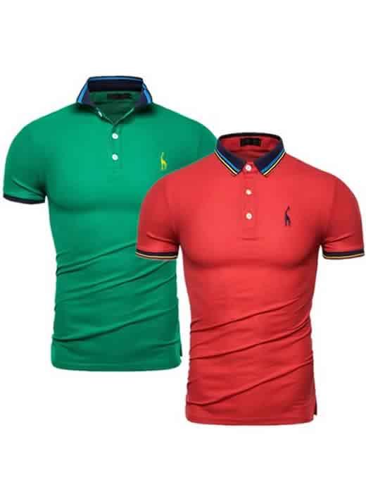 Kit 2 Camisas Polo GRF Premium Verde e Vermelho