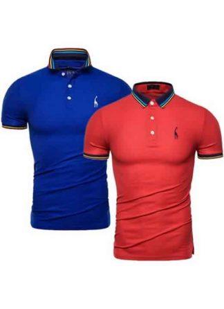 Kit 2 Camisas Polo GRF Premium Azul e Vermelho