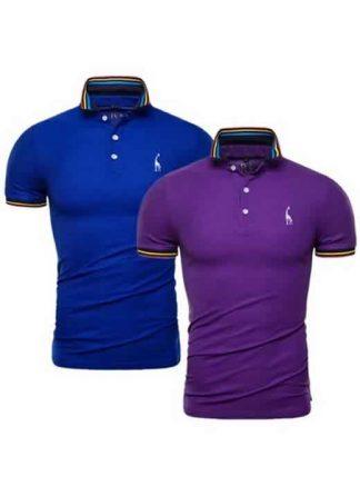 Kit 2 Camisas Polo GRF Premium Azul e Roxo