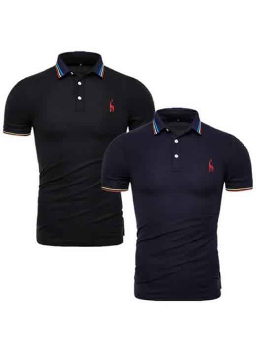 Kit 2 Camisas Polo GRF Premium Preto e Azul Marinho