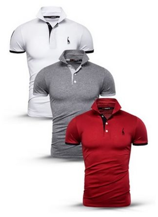 Kit Camisas Polo Masculinas Branca, Cinza e Vermelha