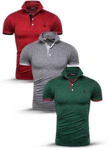 Kit Camisas Polo Masculinas Vermelha, Cinza e Verde