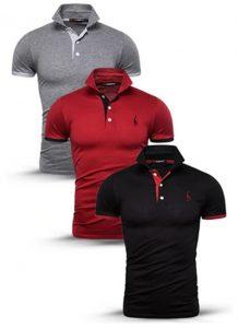 Kit 3 camisas polos Cinza, Vermelha e Preta cpk02