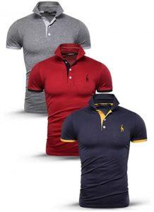 Kit 3 camisas polos Cinza, Vermelha e Azul Marinho cpk02
