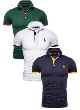 Kit 3 camisas polos Verde, Branca e Azul Marinho cpk02