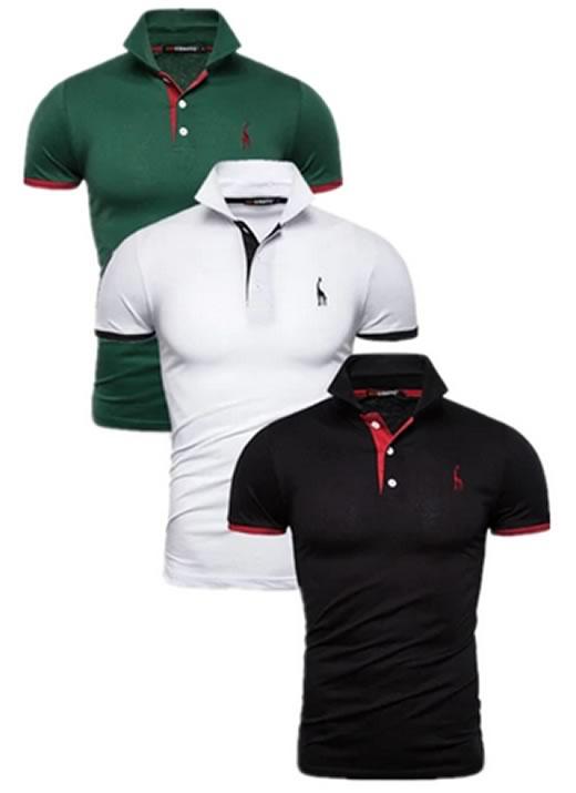 Kit 3 camisas polos Verde, Branca e Preta cpk02