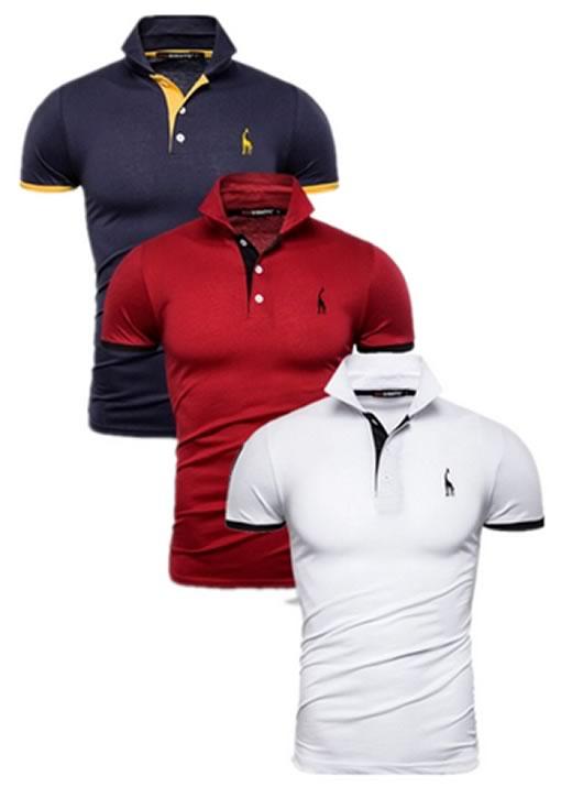 Kit 3 camisas polos Azul Marinho, Vermelho e Branca cpk02