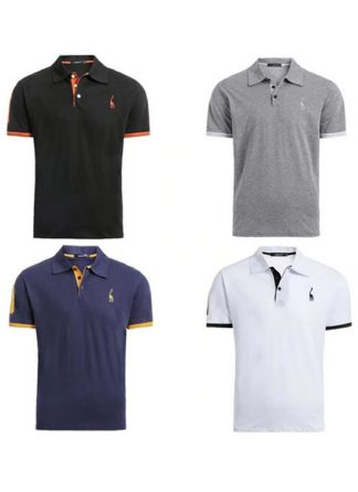 Kit 4 camisas polos Preto Cinza Azul Marinho e Branco cpk03