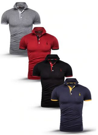 Kit 4 camisas polos Cinza Vermelho Preto e Azul Marinho cpk03