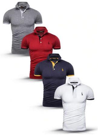Kit 4 camisas polos Cinza Vermelho Azul Marinho e Branco cpk03