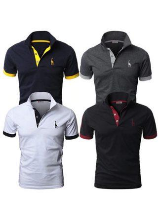 Kit 4 camisas polos Azul Marinho Cinza Branco e Preto cpk03