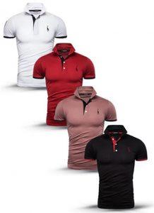 Kit 4 camisas polos Branco Vermelho Bege e Preto cpk03
