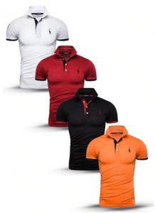 Kit 4 camisas polos Branco Vermelho Preto e Laranja cpk03