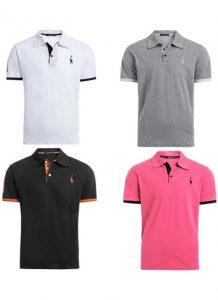 Kit 4 camisas polos Branco Cinza Preto e Rosa cpk03