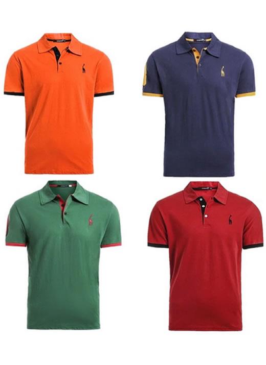 Kit 4 camisas polos Laranja Azul Marinho Verde e Vermelho cpk03