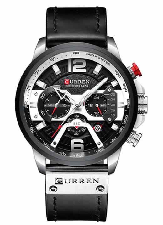 Relógio Esportivo Curren Top Original Prata/Preto R004