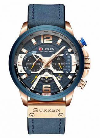 Relógio Esportivo Curren Top Original Bronse/Azul R004