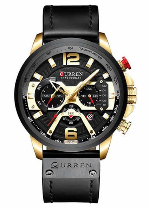Relógio Esportivo Curren Top Original Ouro/Preto R004
