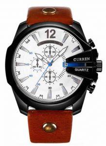 Relógio Curren Masculino Pulseira De Couro Original Branco/Preto R002
