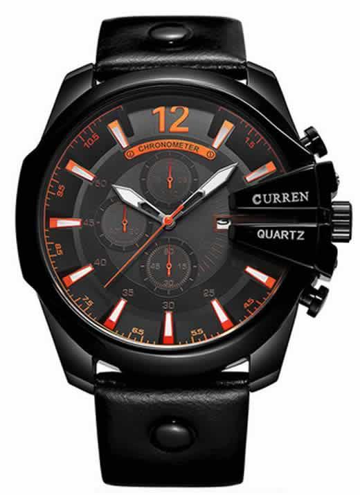 Relógio Curren Masculino Pulseira De Couro Original Preto R002