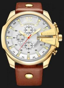 Relógio Curren Masculino Pulseira De Couro Original Ouro/Branco R002