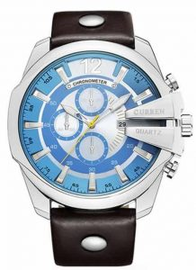 Relógio Curren Masculino Pulseira De Couro Original Prata/Azul R002