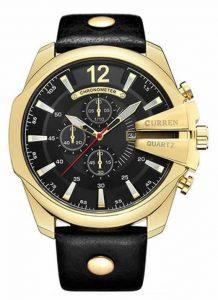 Relógio Curren Masculino Pulseira De Couro Original Ouro/Preto R002