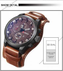 Relógio Curren Masculino Original Pulseira Couro Marrom R003